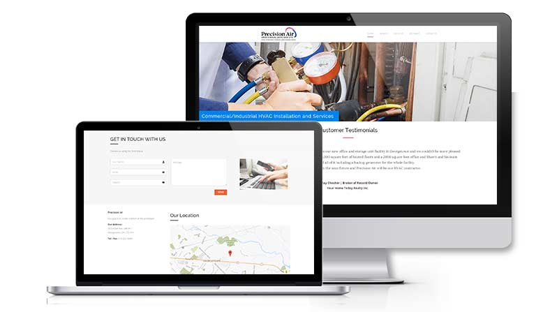 Website design for Precision Air Mechanical